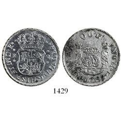 Lima, Peru, pillar 2 reales, Ferdinand VI, 1752J, rare first year of issue.