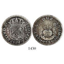 Lima, Peru, pillar 2 reales, Ferdinand VI, 1755JD, dot over mintmark.