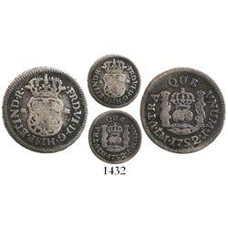 Lima, Peru, pillar 1/2 real, Ferdinand VI, 1752/1J, rare.
