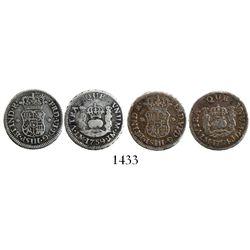 Lot of 2 Lima, Peru, pillar 1/2R, Ferdinand VI: 1754JD and 1759JM (normal M in mintmark).