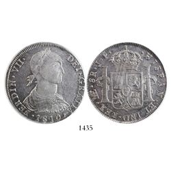 """Lima, Peru, bust 8 reales, Ferdinand VII transitional (""""imaginary"""" bust), 1810JP, encapsulated PCGS"""