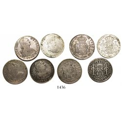 Lot of 4 Lima, Peru, bust 8 reales, Charles IV and Ferdinand VII, as follows: 1791IJ, 1793IJ, 1799IJ