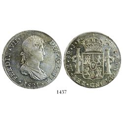 Lima, Peru, bust 8 reales, Ferdinand VII, 1821JP.