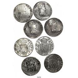 Lot of 4 Lima, Peru, bust 8 reales, Ferdinand VII, various dates (1810JP transitional, 1813JP [2] an