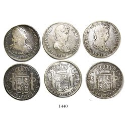 Lot of 3 Lima, Peru, bust 4 reales, Charles IV and Ferdinand VII, various dates (1797IJ, 1813JP and