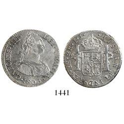 Lima, Peru, bust 2 reales, Charles IV, 1803IJ.