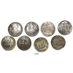 Lot of 4 Lima, Peru, bust 2 reales, Charles III and IV, various dates (1782MI, 1794IJ, 1795IJ and 18