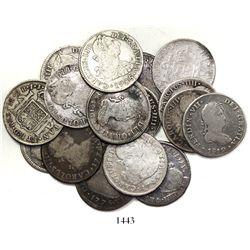 Large lot of 17 Lima, Peru, bust 2 reales, Charles III through Ferdinand VII, various dates.