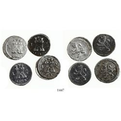 Lot of 4 Lima, Peru, 1/4R: 1808, 1812, 1819 and 1820.