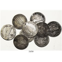 Lot of 9 Lima and Cuzco, Peru, 2 reales, as follows: Lima, 1828JM (3), 1840MB (2), 1843MB and 1845MB