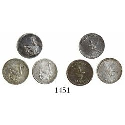 Lot of 3 Lima, Peru, 1/4R, various dates: 1848, 1851, 1855.