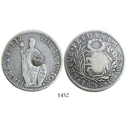 """Philippines (under Spain), 8 reales, Ferdinand VII, crowned """"F.7.o"""" countermark (1832-4) on a Lima,"""