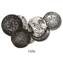 Lot of 7 Portuguese silver minors, various periods (Philip III through Joseph I, 1620s to 1770s).