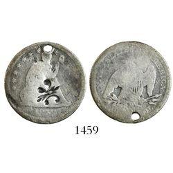 Puerto Rico, 1/4 dollar, fleur-de-lis countermark (1884) on a USA (Philadelphia mint) seated Liberty
