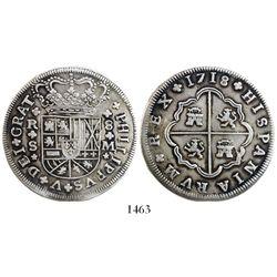 Seville, Spain, milled 8 reales, Philip V, 1718M.