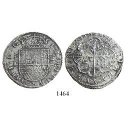 Segovia, Spain, milled 4 reales, Philip IV, 1628P, salvaged.