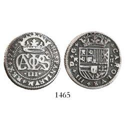 Barcelona, Spain, milled 2 reales, Charles III Pretender, 1711.