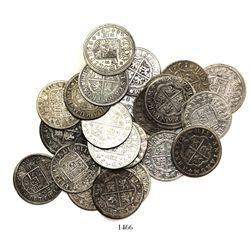 """Large lot of 25 Spanish milled 2 reales """"pistareens,"""" Philip V through Charles III, various mints an"""