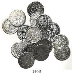 "Lot of 18 Spanish milled 1/2R ""quarter pistareens,"" Philip IV through Ferdinand VI, various mints an"