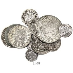 "Lot of 13 Spanish milled ""pistareen"" issues (one 4R, four 2R, five 1R and three 1/2R), Philip III to"