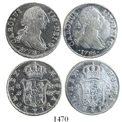 Lot of 2 Seville, Spain, bust 2 reales, Charles III: 1778CF and 1788C.
