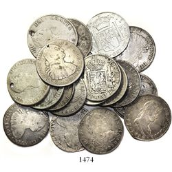 Lot of 19 Spanish colonial (Mexico, Lima and Potosi) bust 8 reales, Charles III through Ferdinand VI