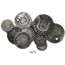 Lot of 12 Spanish colonial pillar minors (two 4R, four 2R, four 1R and two 1/2R), various mints and