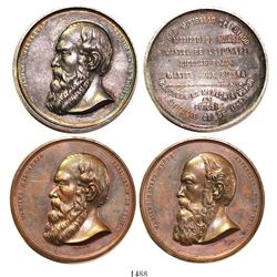 Lot of 2 large Bolivian medals, one silver and one copper, 1869, Melgarejo and Munoz.