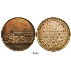 Great Britain, bronze medal made from bronze from the H.M.S. Powerful (1895), in original velvet-lin