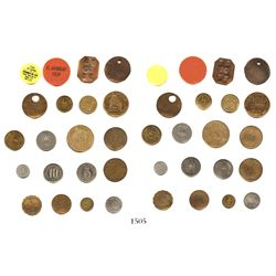 Lot of 20 Puerto Rican tokens in various materials (some plastic), all catalogued in Fumero, ex-Roeh