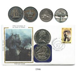 Lot of 3 coins/medallions commemorating shipwrecks and salvage: U.S. silver pin-backed medallion, ra