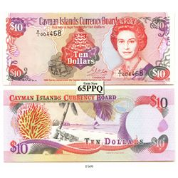 Cayman Islands Currency Board, ten dollars, 1996 experimental paper (X/1 note), encapsulated PCGS Ge
