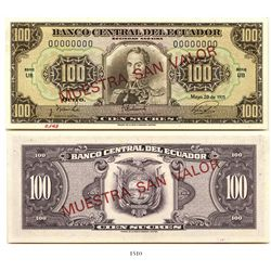 Quito, Ecuador (Central Bank), 100 sucres, 1971, specimen with error MUESTRA SAN VALOR (not SIN) sta