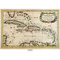 "Small, copper-engraved French map of the islands of the Caribbean entitled ""Les Isles Antilles entre"