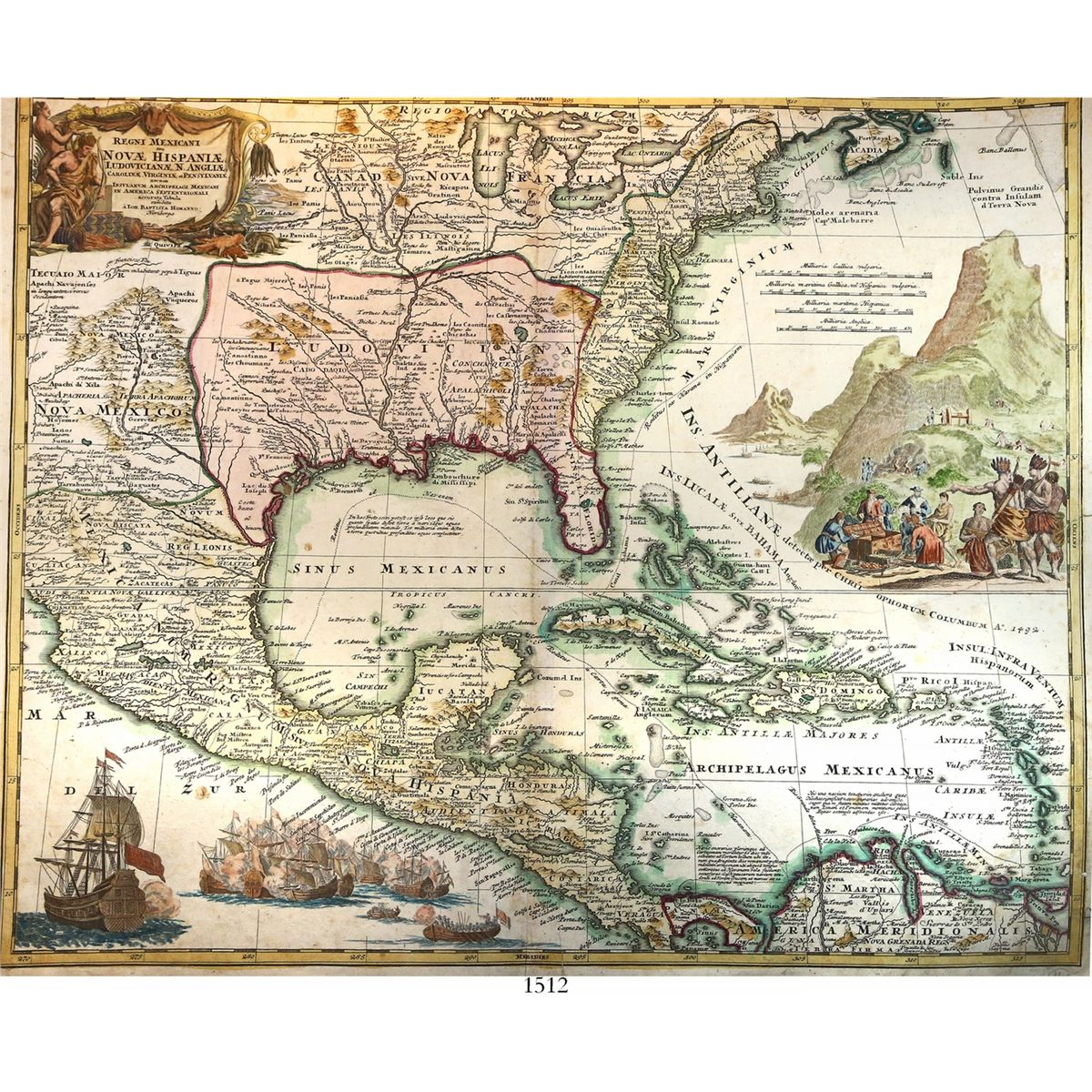 Large Map Of Florida.Large Copper Engraved German Map Of Mexico Florida And The