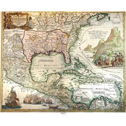 "Large copper-engraved German map of Mexico, Florida and the Caribbean entitled ""Regni Mexicani Seu N"