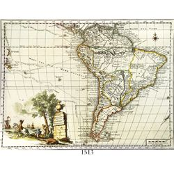 "Copper-engraved Italian map of South America entitled ""Carta Geografica della America Meridionale,"""