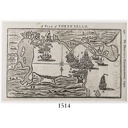 Small British map of Porto Bello, Panama, from a sketch by Lieutenant Durell under Admiral Vernon, f