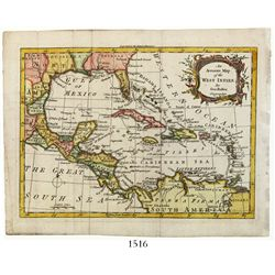 Small, British map entitled An Accurate Map of the West Indies by George Rollos (London, 1762), engr
