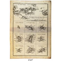 "Copper-engraved French map of the Lesser Antilles entitled ""Supplement pour les Isles Antilles, extr"