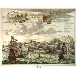 "Dutch copperplate engraving ""De Stadt St. Martin,"" depicting Admiral Martyn Thytzoon's 16-ship Dutch"