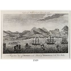 """British copperplate engraving """"Perspective View of ROSEAU in the Island of DOMINICA in the West Indi"""