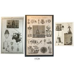 Lot of 3 British copperplate engravings from the 1780s-1790s showing diving apparatus, various engra