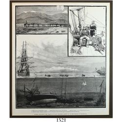 """British copperplate engraving """"DIVERS EXPLORING THE WRECK OF THE H.M.S. DOTEREL, BLOWN UP IN THE STR"""