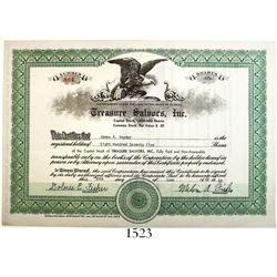 Original Treasure Salvors stock certificate dated June 30, 1980, for 875 shares.