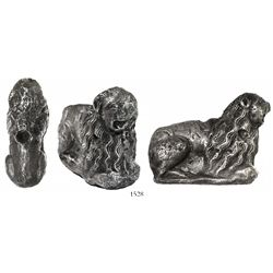 Silver lion figurine with hole in back (purpose unknown), unique and interesting.