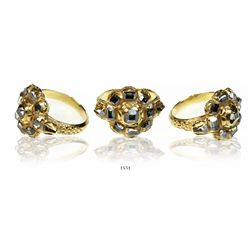 1715 Fleet Gold-and-diamond ring, 4-1/2 to 5 carats, clarity SI1-SI2, fancy gray color.