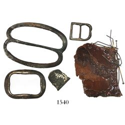 Lot of small artifacts with Frank Sedwick certificates: 1 silver thimble; 3 brass buckles; and the r