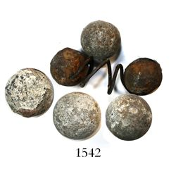 Lot of lead musket-shot, including one 2-ball springshot and 4 loose balls.