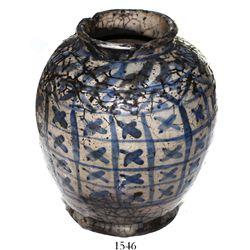 Large Chinese blue-on-white porcelain urn.